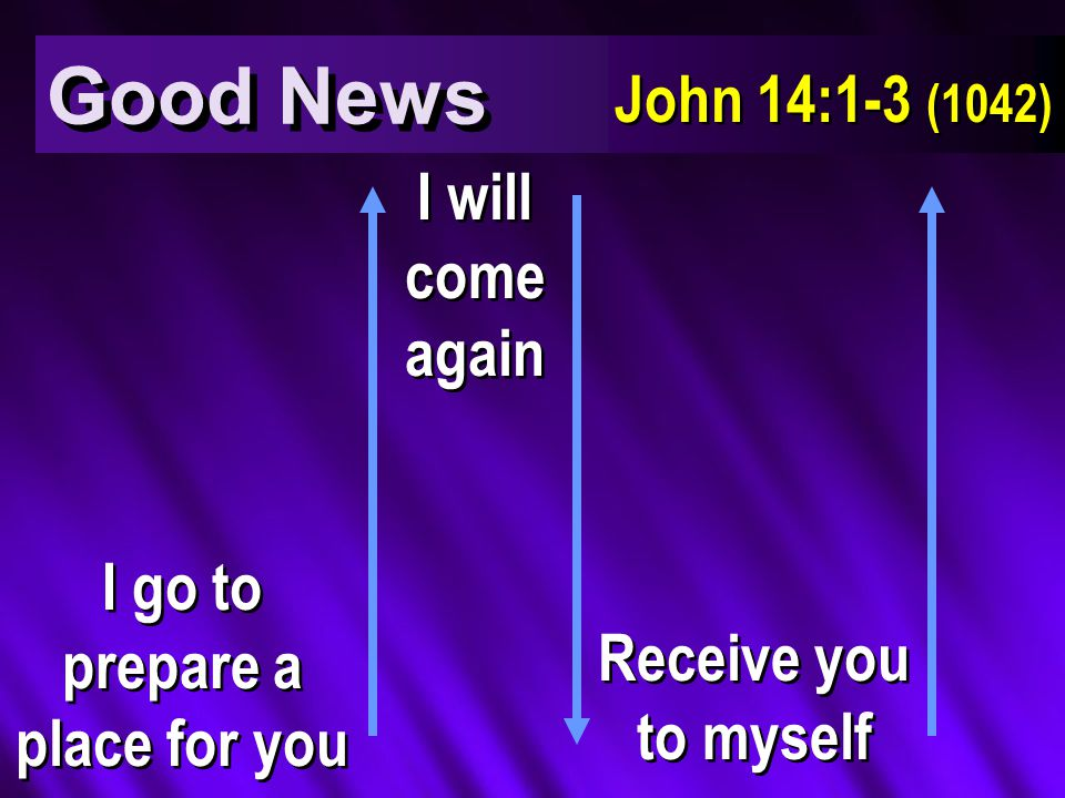 Good News John 14:1-3 (1042) I go to prepare a place for you I will come again Receive you to myself