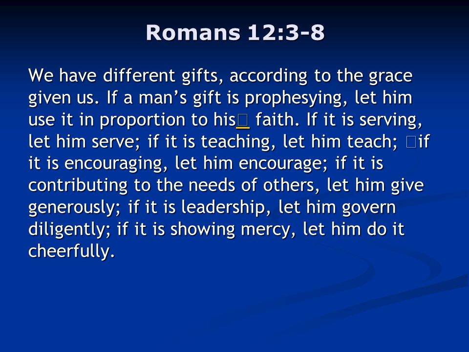 Romans 12:3-8 We have different gifts, according to the grace given us.