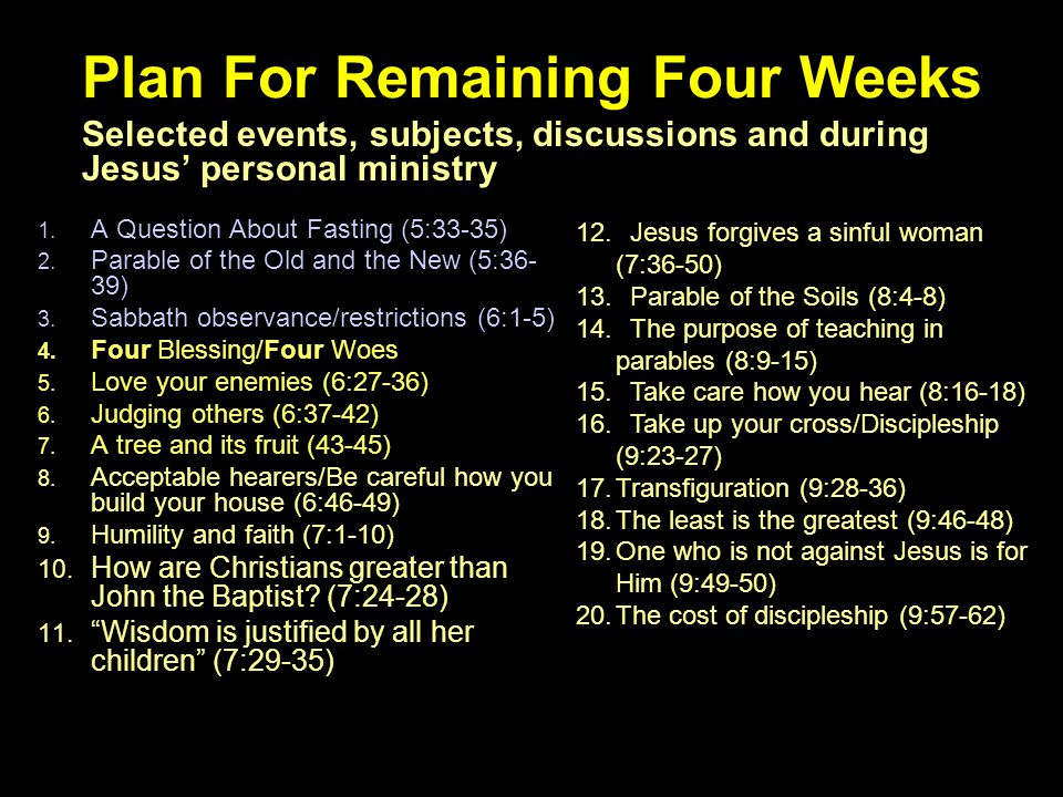 2 Plan For Remaining Four Weeks 1. A Question About Fasting (5:33-35) 2. Parable of the Old and the New (5:36- 39) 3. Sabbath observance/restrictions