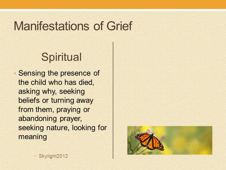 Manifestations of Grief Spiritual Sensing the presence of the child who has died, asking why, seeking beliefs or turning away from them, praying or abandoning prayer, seeking nature, looking for meaning Skylight2012