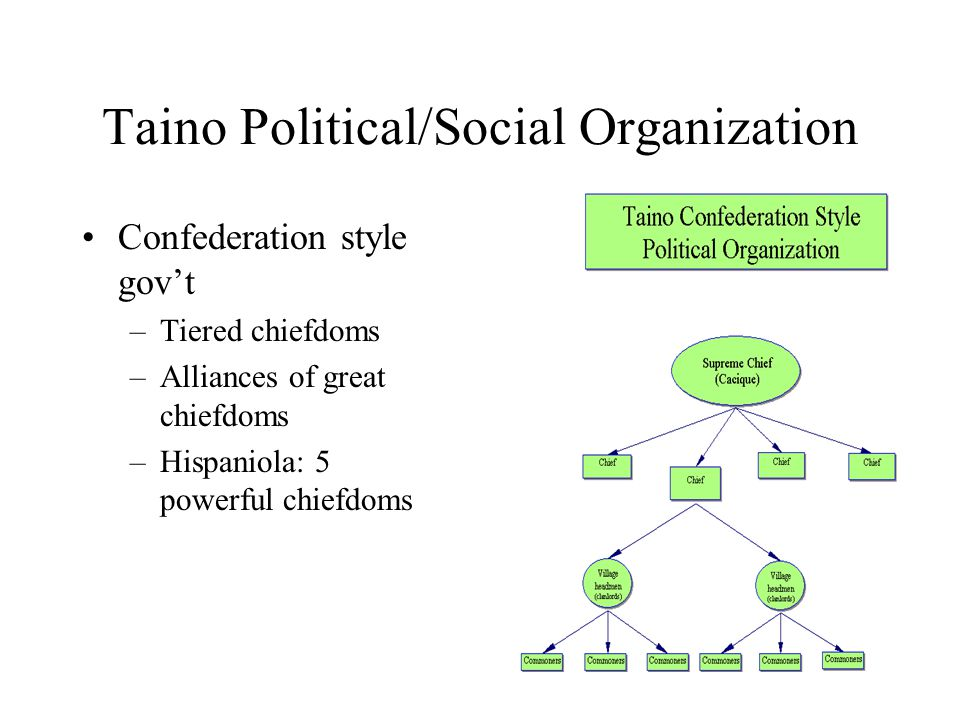 Taino Political/Social Organization Confederation style gov't –Tiered chiefdoms –Alliances of great chiefdoms –Hispaniola: 5 powerful chiefdoms