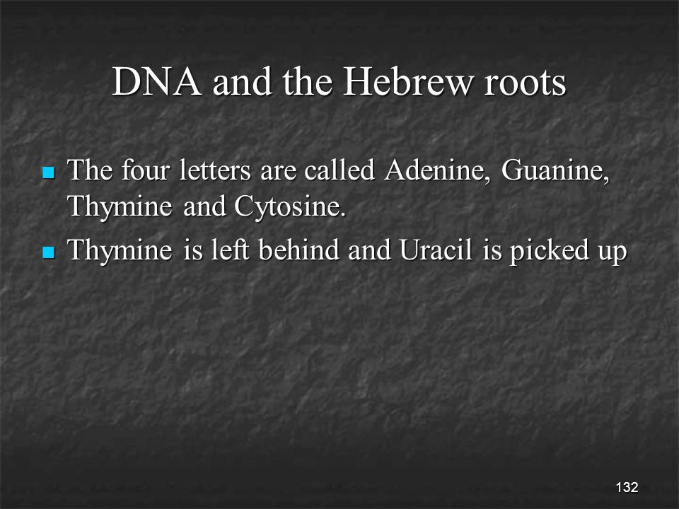 132 DNA and the Hebrew roots The four letters are called Adenine, Guanine, Thymine and Cytosine.