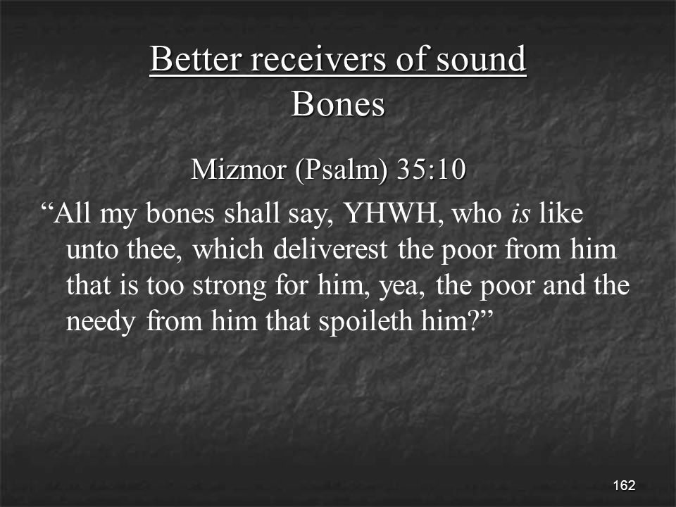 162 Better receivers of sound Bones Mizmor (Psalm) 35:10 Mizmor (Psalm) 35:10 All my bones shall say, YHWH, who is like unto thee, which deliverest the poor from him that is too strong for him, yea, the poor and the needy from him that spoileth him
