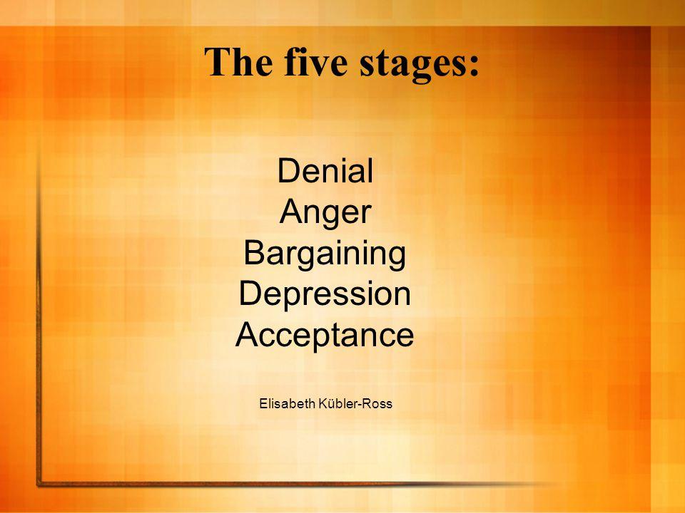 The five stages: Denial Anger Bargaining Depression Acceptance Elisabeth Kübler-Ross