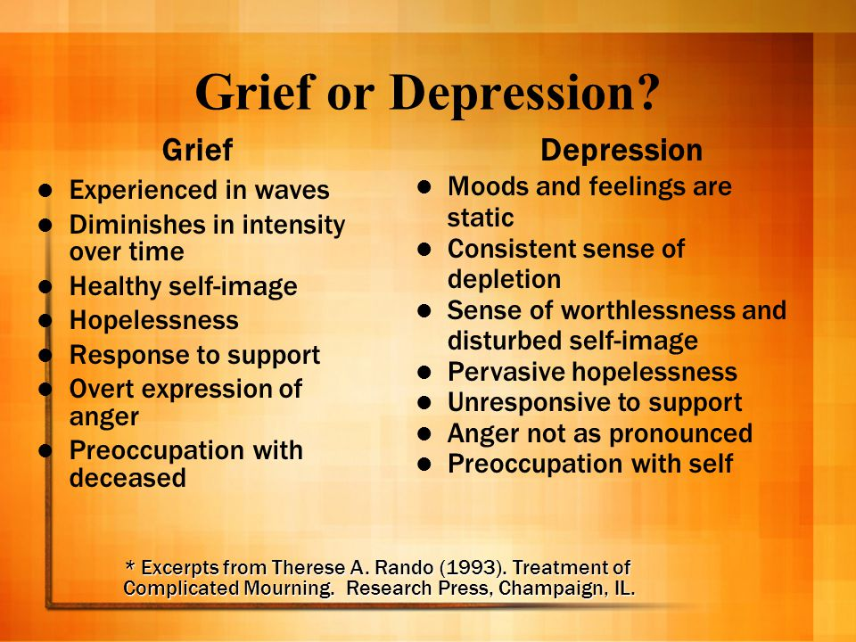 Grief or Depression? Grief Experienced in waves Diminishes in intensity over time Healthy self-image Hopelessness Response to support Overt expression