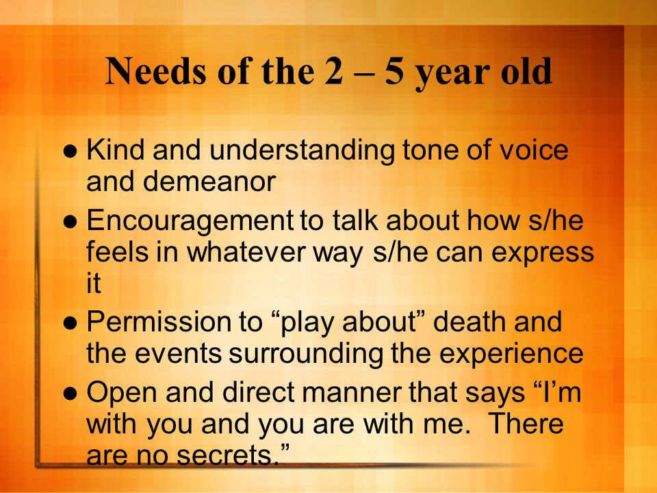Needs of the 2 – 5 year old Kind and understanding tone of voice and demeanor Encouragement to talk about how s/he feels in whatever way s/he can expr