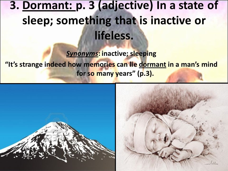 "3. Dormant: p. 3 (adjective) In a state of sleep; something that is inactive or lifeless. Synonyms: inactive; sleeping ""It's strange indeed how memori"