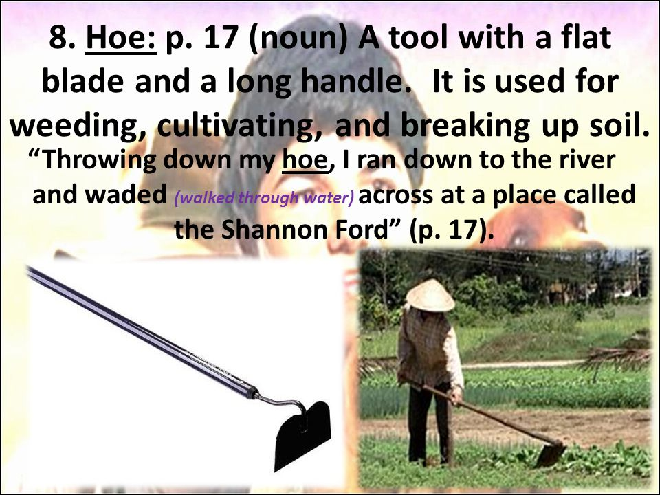 "8. Hoe: p. 17 (noun) A tool with a flat blade and a long handle. It is used for weeding, cultivating, and breaking up soil. ""Throwing down my hoe, I r"