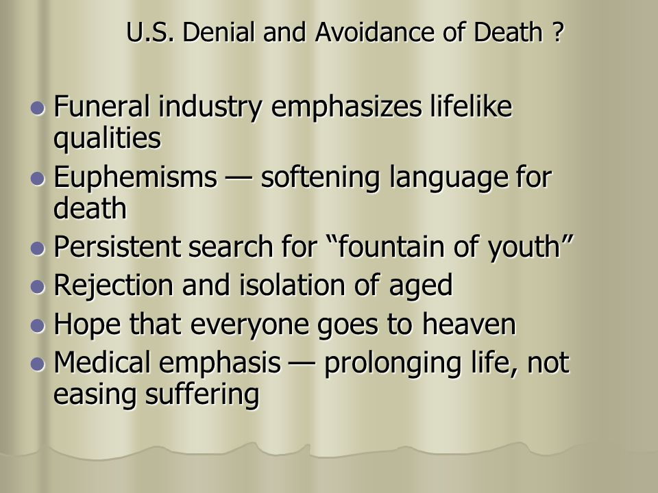 U.S. Denial and Avoidance of Death .