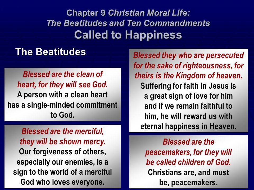  Heresy (239)  Apostasy (239)  Schism (239)  Presumption (239)  Despair (239)  Superstition (239)  Idolatry (239)  Divination (240)  Sorcery (240)  Irreligion (240)  Sacrilege (240)  Abortion (246)  Euthanasia (246)  Chastity (247)  Modesty (247)  Lust (247)  Perjury (254)  Rash judgment (254)  Detraction (254)  Calumny (254) Chapter 9 Christian Moral Life: The Beatitudes and Ten Commandments VOCABULARY  Simony (240)  Atheism (240)  Humanists (240)  Communists (240)  Agnostic (240)  Oath (241)  Perjury (241)  Blasphemy (241)  Cursing (241)  Murder (245)