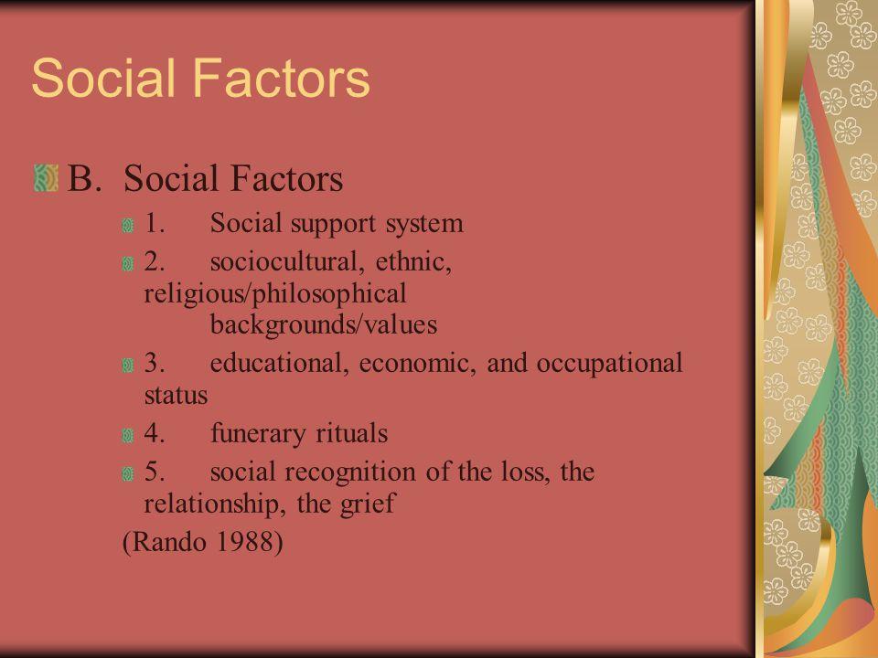 Social Factors B. Social Factors 1.Social support system 2.sociocultural, ethnic, religious/philosophical backgrounds/values 3.educational, economic,