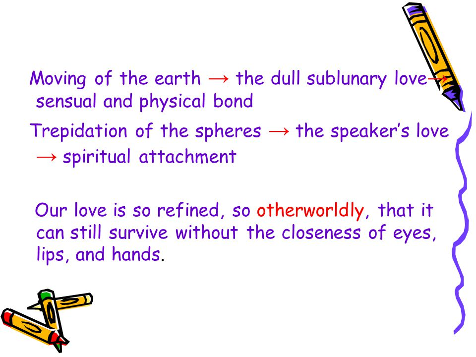 Moving of the earth → the dull sublunary love → sensual and physical bond Trepidation of the spheres → the speaker's love → spiritual attachment Our love is so refined, so otherworldly, that it can still survive without the closeness of eyes, lips, and hands.