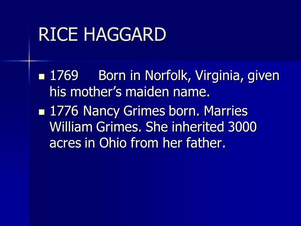 RICE HAGGARD 1769Born in Norfolk, Virginia, given his mother's maiden name. 1769Born in Norfolk, Virginia, given his mother's maiden name. 1776 Nancy