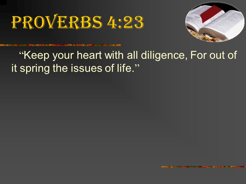 """Proverbs 4:23 """" Keep your heart with all diligence, For out of it spring the issues of life. """""""