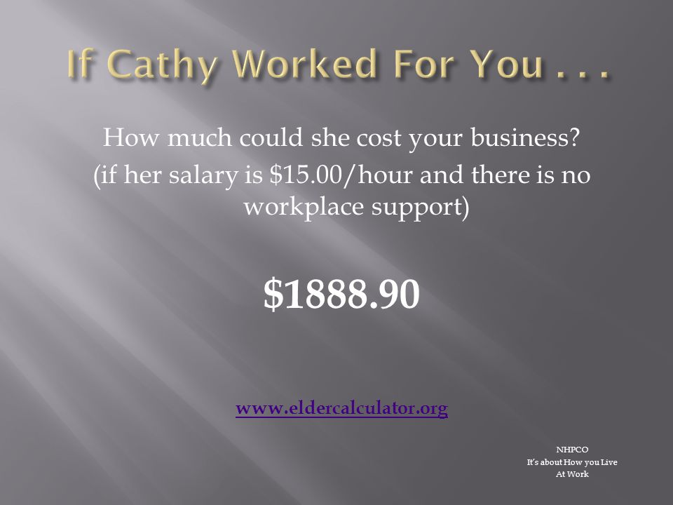 How much could she cost your business.