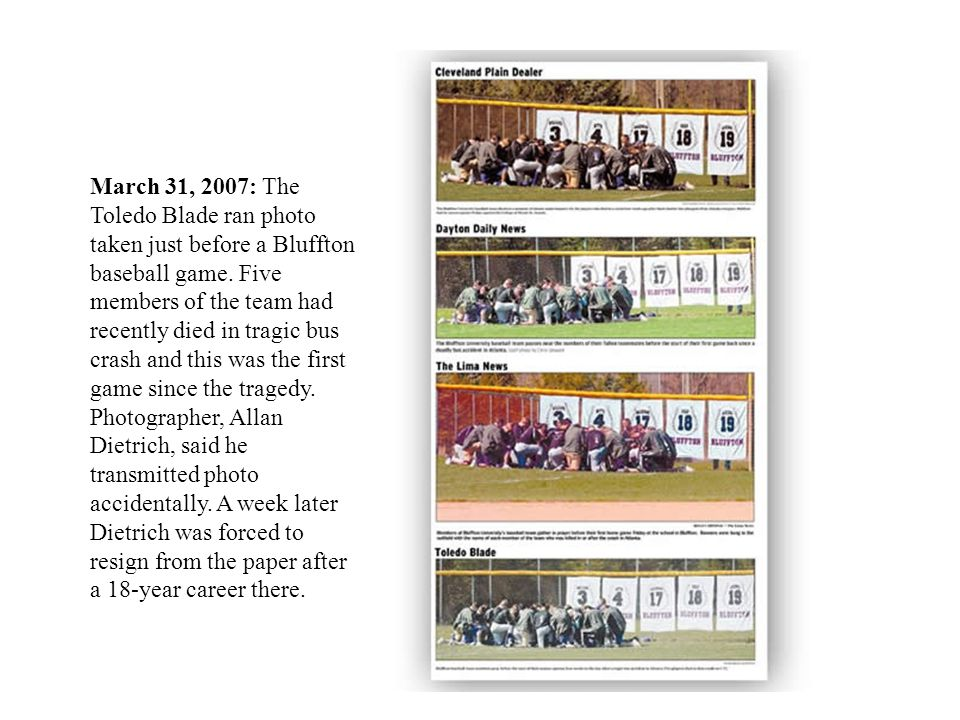 March 31, 2007: The Toledo Blade ran photo taken just before a Bluffton baseball game.