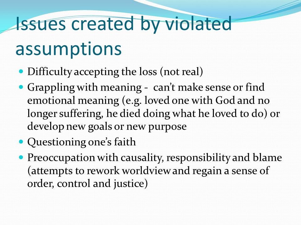 Issues created by violated assumptions Difficulty accepting the loss (not real) Grappling with meaning - can't make sense or find emotional meaning (e