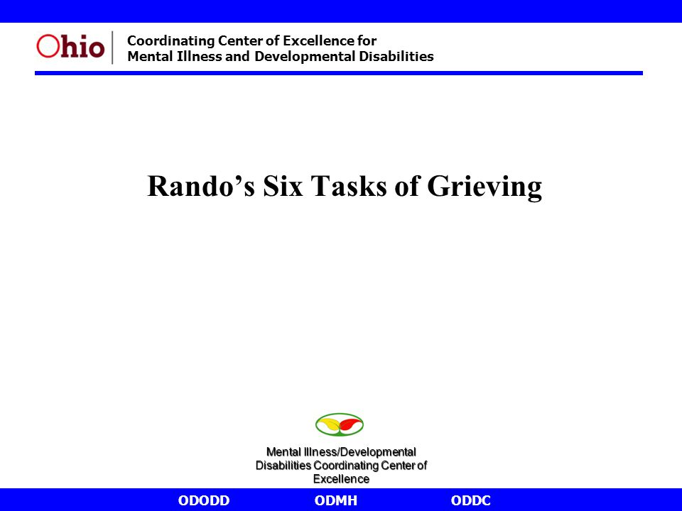 ODODDODMHODDC Coordinating Center of Excellence for Mental Illness and Developmental Disabilities Rando's Six Tasks of Grieving Mental Illness/Develop