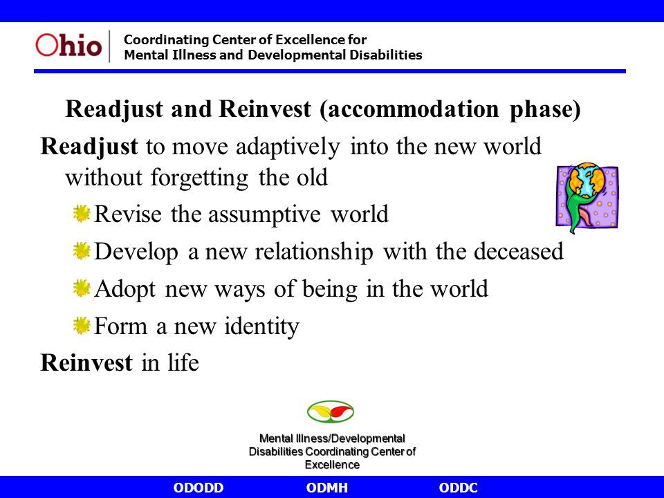 ODODDODMHODDC Coordinating Center of Excellence for Mental Illness and Developmental Disabilities Readjust and Reinvest (accommodation phase) Readjust to move adaptively into the new world without forgetting the old Revise the assumptive world Develop a new relationship with the deceased Adopt new ways of being in the world Form a new identity Reinvest in life Mental Illness/Developmental Disabilities Coordinating Center of Excellence