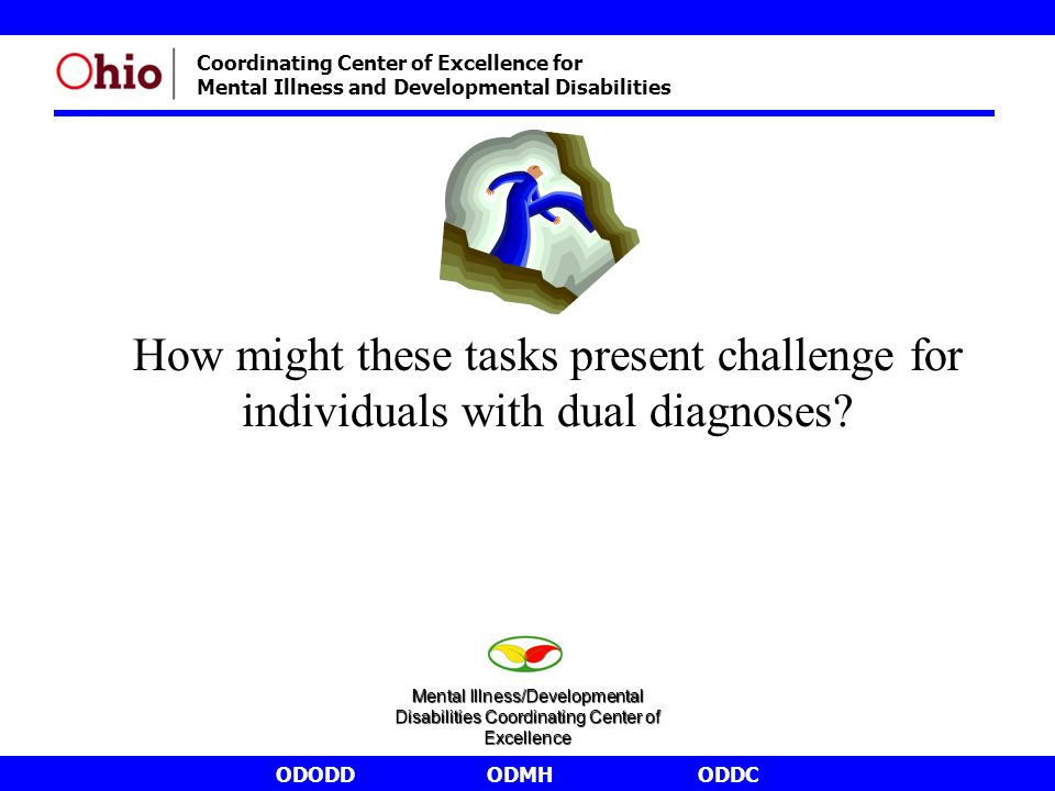 ODODDODMHODDC Coordinating Center of Excellence for Mental Illness and Developmental Disabilities How might these tasks present challenge for individuals with dual diagnoses.