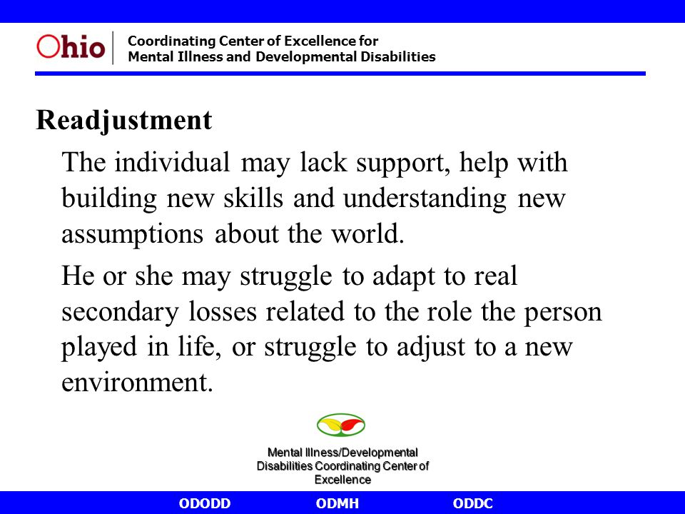ODODDODMHODDC Coordinating Center of Excellence for Mental Illness and Developmental Disabilities Readjustment The individual may lack support, help with building new skills and understanding new assumptions about the world.