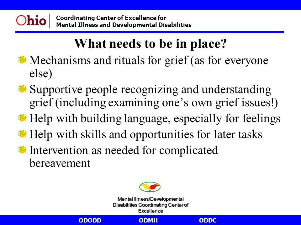 ODODDODMHODDC Coordinating Center of Excellence for Mental Illness and Developmental Disabilities What needs to be in place? Mechanisms and rituals fo