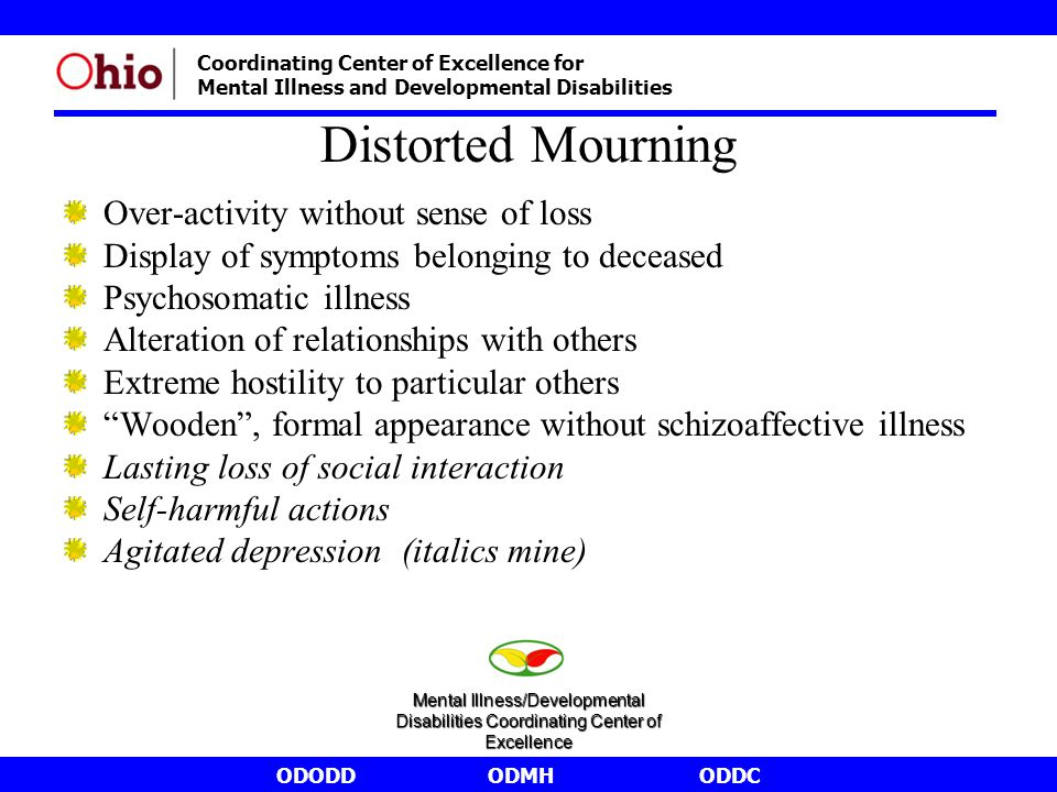 ODODDODMHODDC Coordinating Center of Excellence for Mental Illness and Developmental Disabilities Distorted Mourning Over-activity without sense of loss Display of symptoms belonging to deceased Psychosomatic illness Alteration of relationships with others Extreme hostility to particular others Wooden , formal appearance without schizoaffective illness Lasting loss of social interaction Self-harmful actions Agitated depression (italics mine) Mental Illness/Developmental Disabilities Coordinating Center of Excellence
