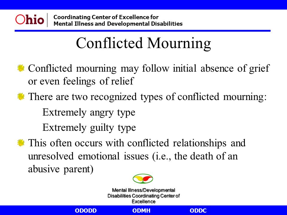 ODODDODMHODDC Coordinating Center of Excellence for Mental Illness and Developmental Disabilities Conflicted Mourning Conflicted mourning may follow i