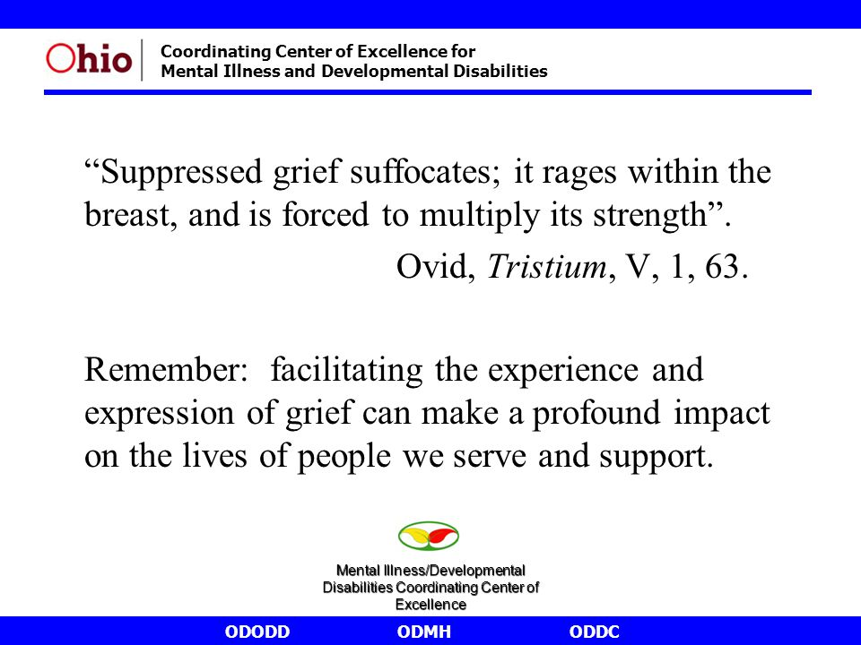 """ODODDODMHODDC Coordinating Center of Excellence for Mental Illness and Developmental Disabilities """"Suppressed grief suffocates; it rages within the br"""