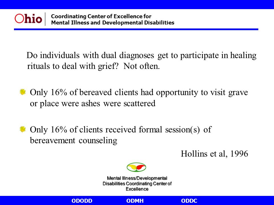 ODODDODMHODDC Coordinating Center of Excellence for Mental Illness and Developmental Disabilities Do individuals with dual diagnoses get to participate in healing rituals to deal with grief.