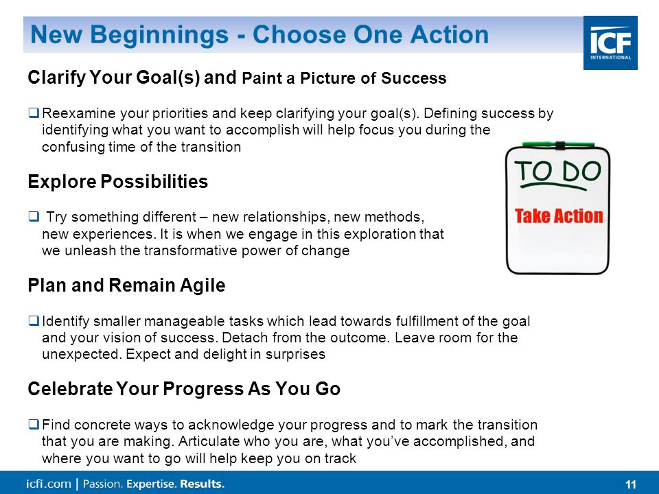 icfi.com | 11 New Beginnings - Choose One Action Clarify Your Goal(s) and Paint a Picture of Success  Reexamine your priorities and keep clarifying your goal(s).