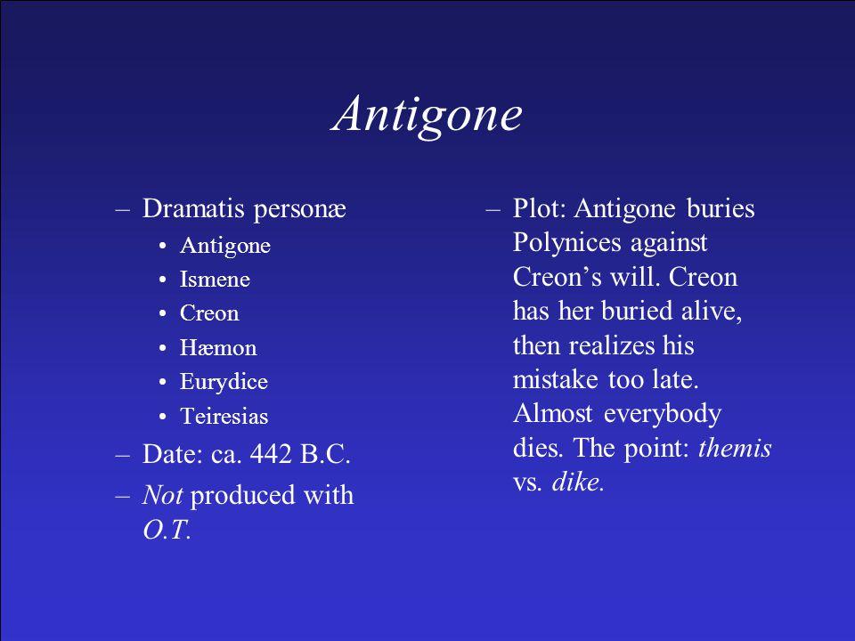 –Dramatis personæ Antigone Ismene Creon Hæmon Eurydice Teiresias –Date: ca.