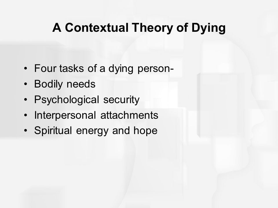 A Contextual Theory of Dying Four tasks of a dying person- Bodily needs Psychological security Interpersonal attachments Spiritual energy and hope