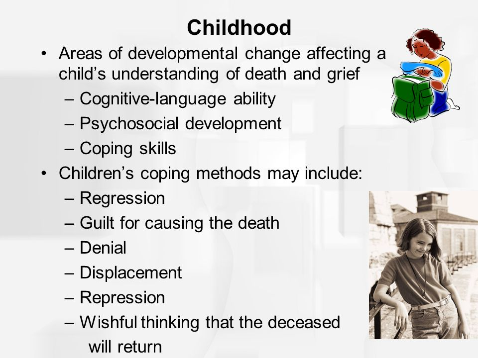 Childhood Areas of developmental change affecting a child's understanding of death and grief –Cognitive-language ability –Psychosocial development –Co