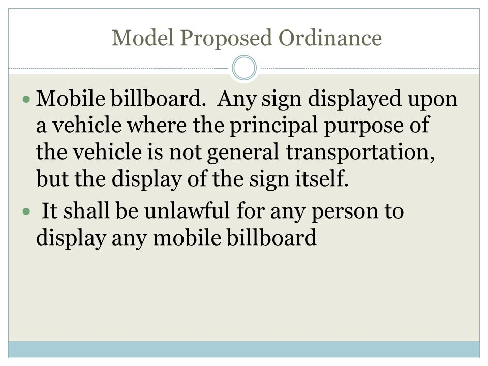 Model Proposed Ordinance Mobile billboard.