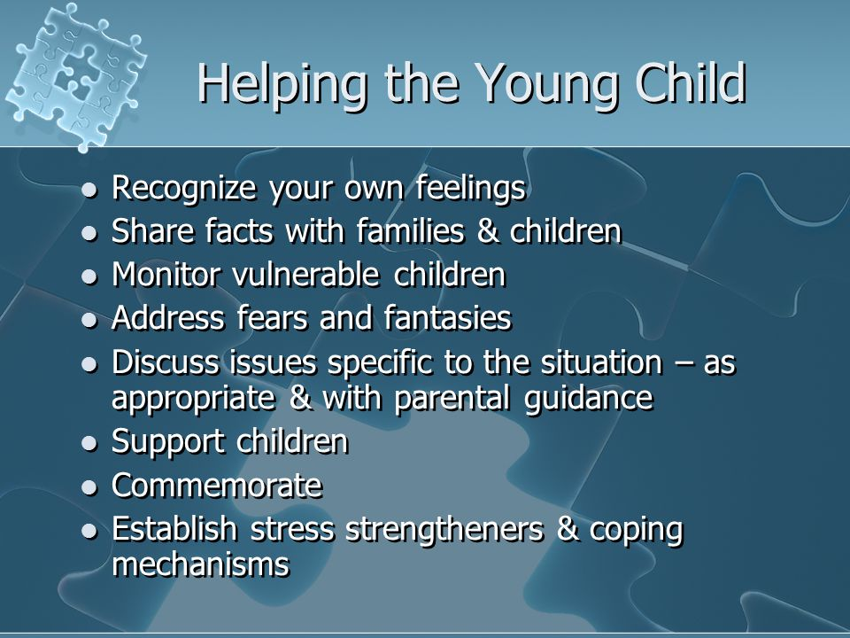 Helping the Young Child Recognize your own feelings Share facts with families & children Monitor vulnerable children Address fears and fantasies Discuss issues specific to the situation – as appropriate & with parental guidance Support children Commemorate Establish stress strengtheners & coping mechanisms Recognize your own feelings Share facts with families & children Monitor vulnerable children Address fears and fantasies Discuss issues specific to the situation – as appropriate & with parental guidance Support children Commemorate Establish stress strengtheners & coping mechanisms