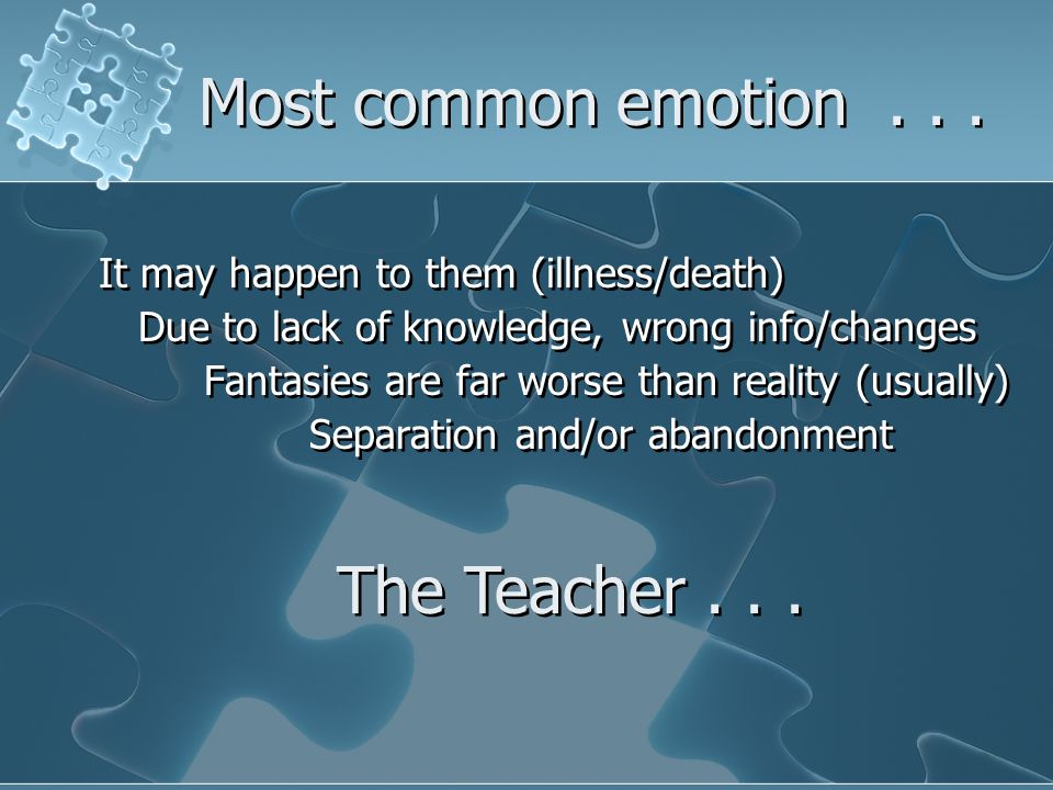 Most common emotion...