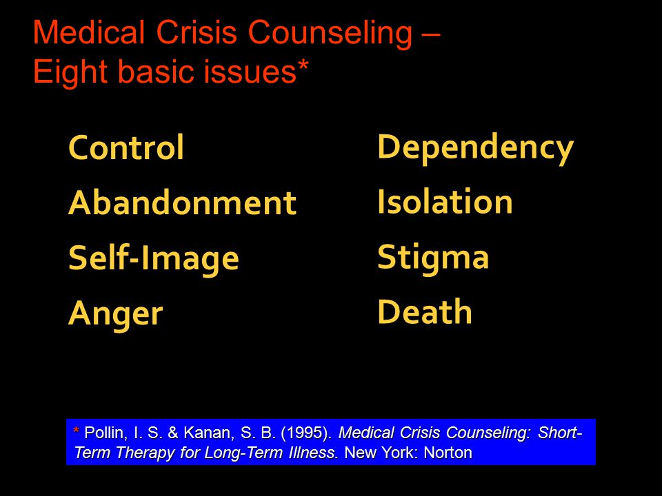 Medical Crisis Counseling – Eight basic issues* Control Abandonment Self-Image Anger Dependency Isolation Stigma Death *Pollin, I.