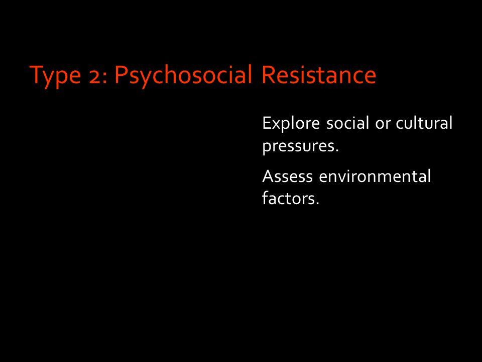 Type 2: Psychosocial Resistance Explore social or cultural pressures. Assess environmental factors.