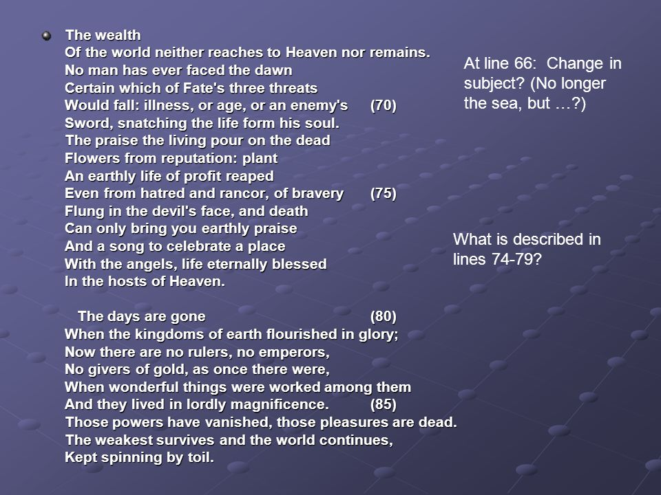 The wealth Of the world neither reaches to Heaven nor remains.