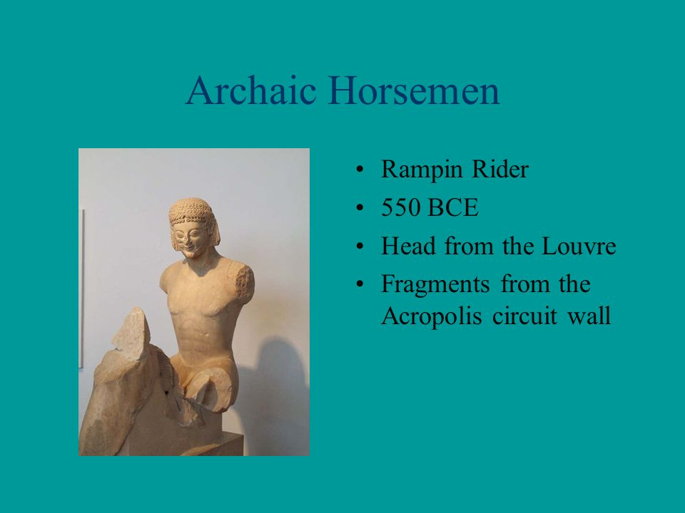 Archaic Horsemen Rampin Rider 550 BCE Head from the Louvre Fragments from the Acropolis circuit wall