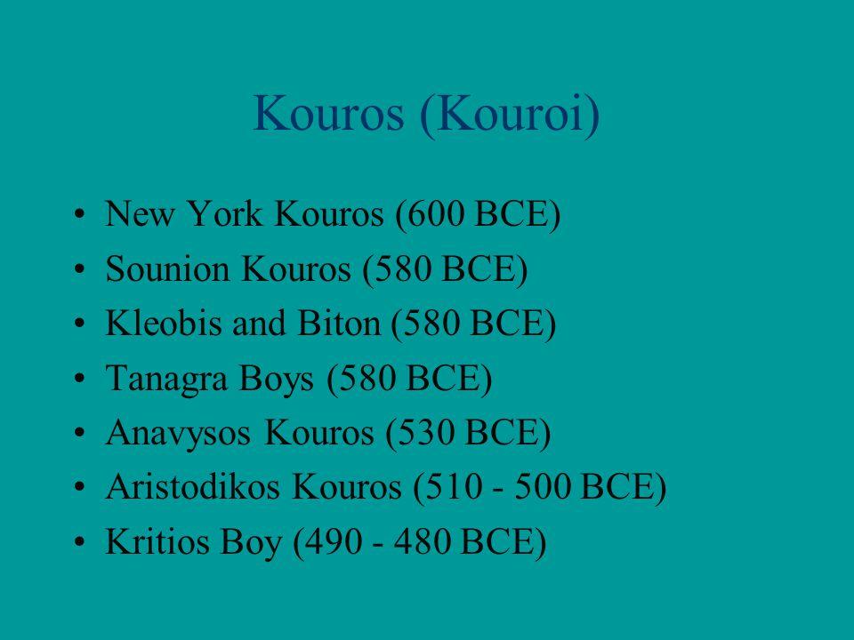 Kouros (Kouroi) New York Kouros (600 BCE) Sounion Kouros (580 BCE) Kleobis and Biton (580 BCE) Tanagra Boys (580 BCE) Anavysos Kouros (530 BCE) Aristo