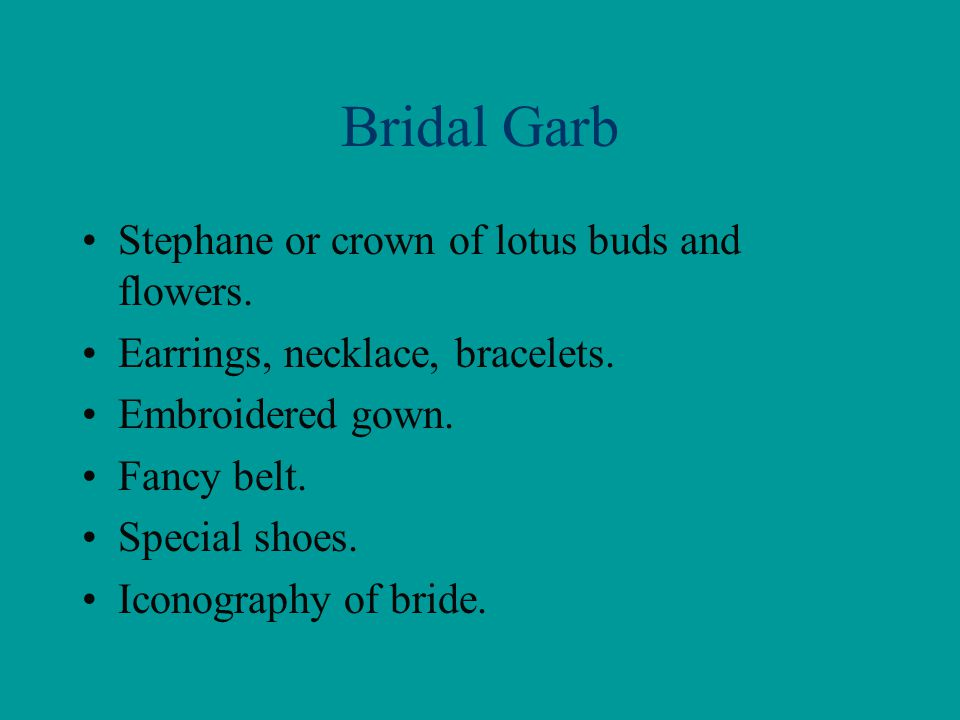 Bridal Garb Stephane or crown of lotus buds and flowers.