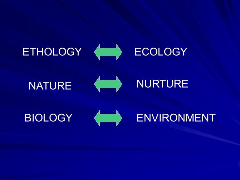 ECOLOGYETHOLOGY NATURE NURTURE BIOLOGYENVIRONMENT
