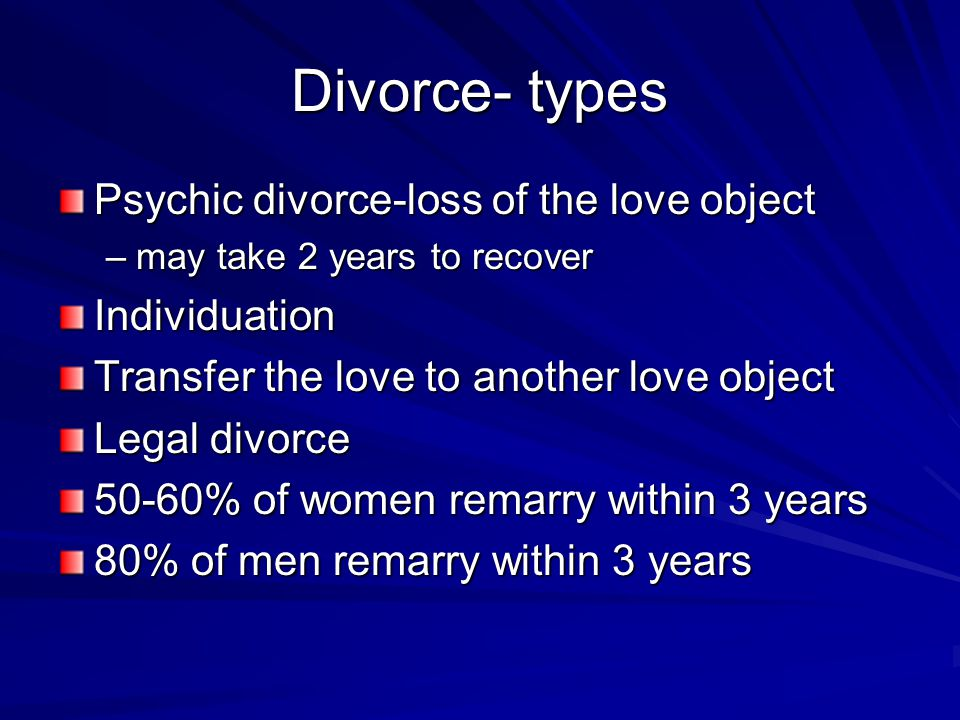 Divorce- types Psychic divorce-loss of the love object –may take 2 years to recover Individuation Transfer the love to another love object Legal divorce 50-60% of women remarry within 3 years 80% of men remarry within 3 years