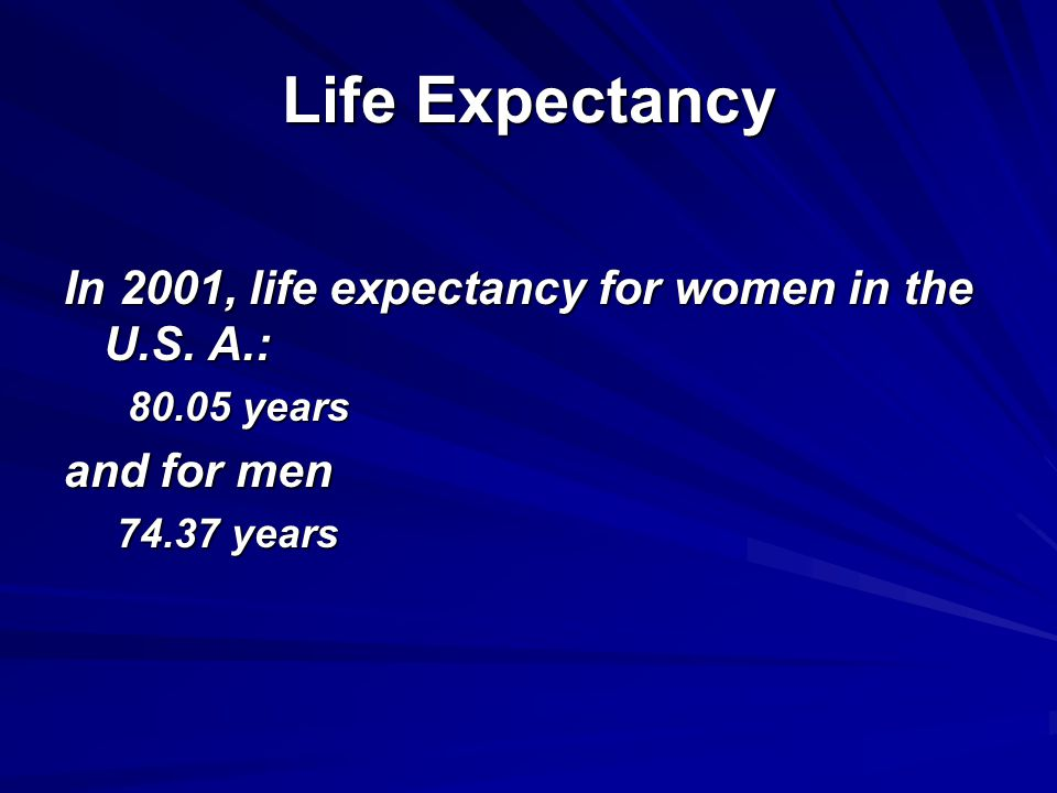 Life Expectancy In 2001, life expectancy for women in the U.S.