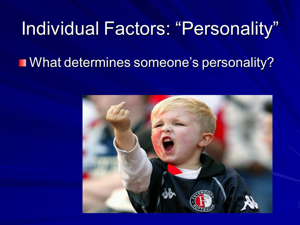 Individual Factors: Personality What determines someone's personality?
