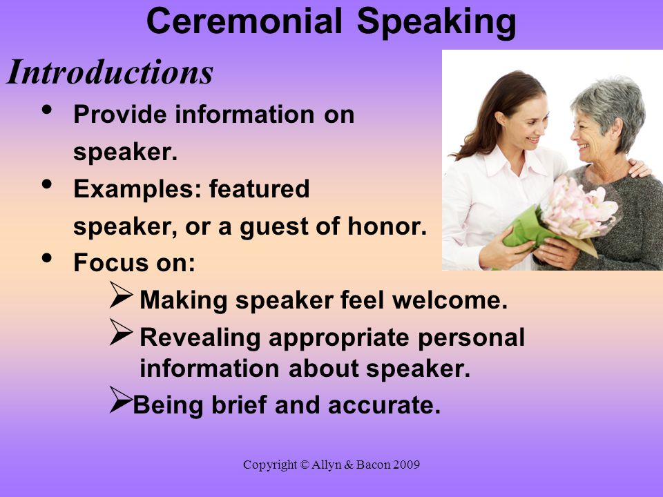 Copyright © Allyn & Bacon 2009 After-Dinner Speaking: Using Humor Effectively Humorous Verbal Strategies Plays on words:  Pun: use of double meanings.