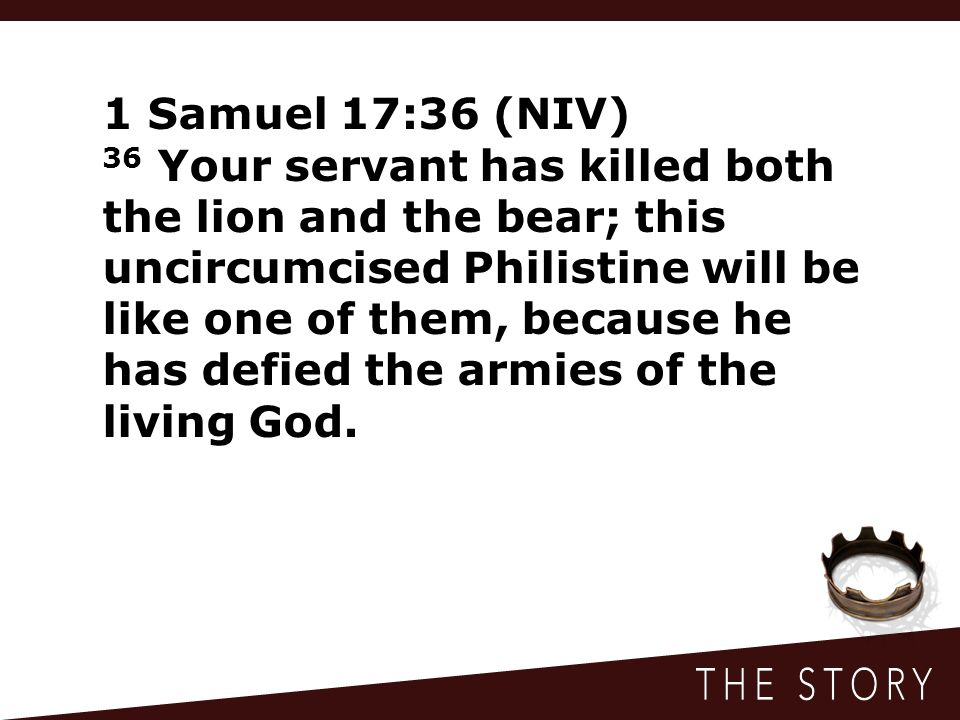 1 Samuel 17:36 (NIV) 36 Your servant has killed both the lion and the bear; this uncircumcised Philistine will be like one of them, because he has defied the armies of the living God.