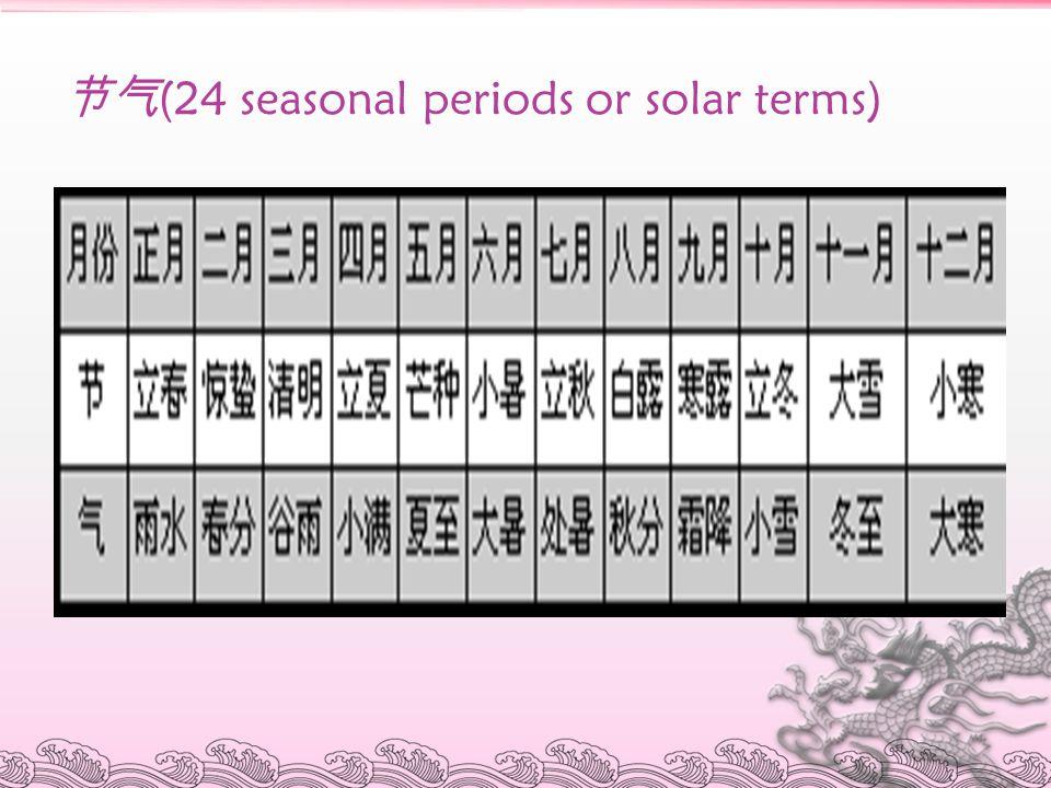节气 (24 seasonal periods or solar terms)